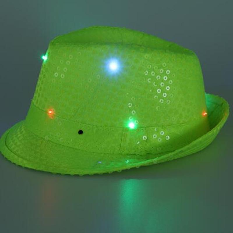 52f58e94ae132 2018 LED Flashing Fluorescence Sequins Jazz Hat Women Men Glowing Hip Hop  Hats Performance Show Wear Christmas Navidad New Year Silly Party Hats  Silver ...