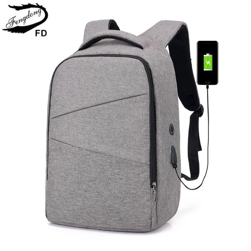 FengDong High School Bags For Boys Waterproof School Backpack Usb Bag Pack Backbag  Men Travel Bags New 2018 Boy Laptop Bag 15.6 Y18100805 Lowest Price ... 148d307470b73