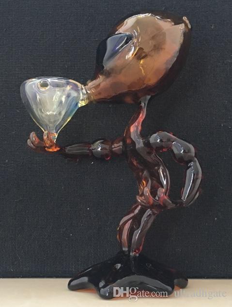 10 pezzi / lotto Alien Glass Pipe Tubi l'acqua in vetro 7 pollici Altezza Tubi di fumo Alien Bong Water
