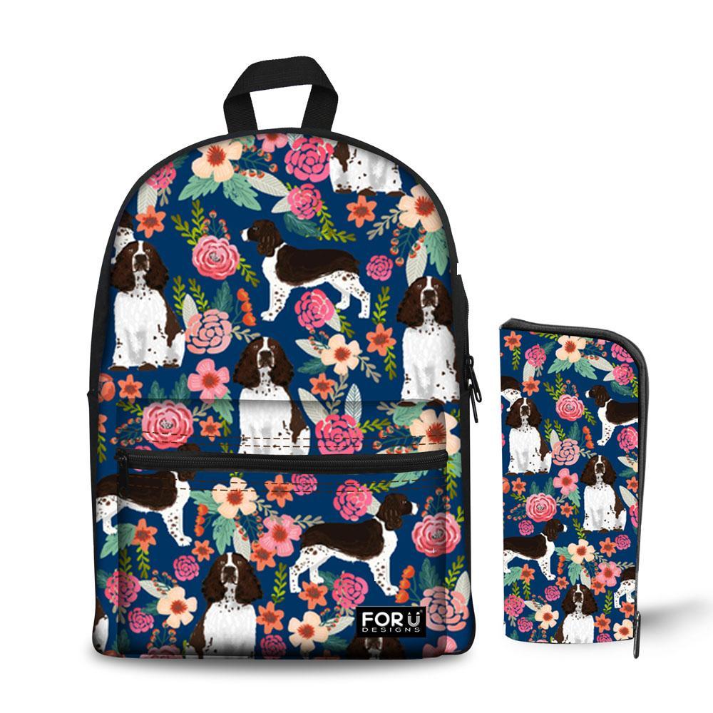 ea73b89c04 Noisydesigns Animal And Flowers Print Springer Spaniel Printing Canvas Bookbag  Backpack For Teenage Girls 2018 New Bookbag Toddler Backpack From Palexxx