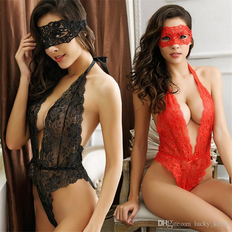 93477b1d2af HOT Lingerie Sexy Pyjamas 4 Color Women s One-piece A Backless Sexy Lace  Lingerie Short Ladies Temptation Sleepwear Free Shipping