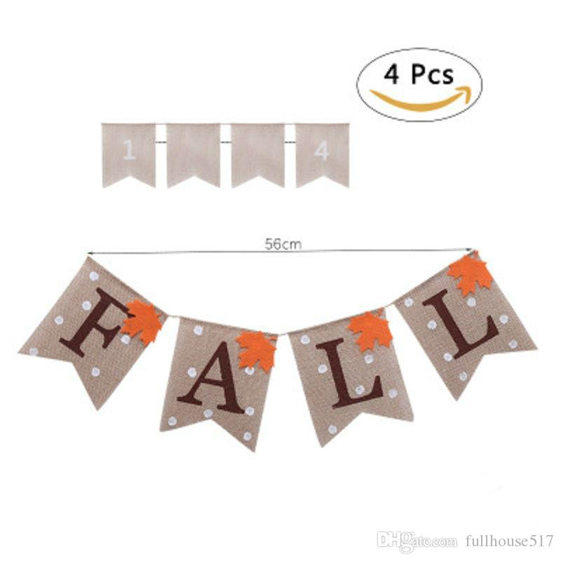 Bandiere di bandiere di iuta iuta Banner di caduta bandiere Happy Thanksgiving Day Harvest Camino Mantel Garland Bunting Decoration