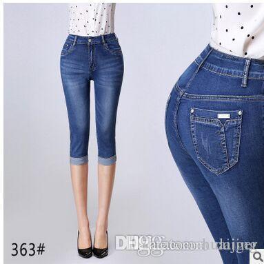 161c0552b6 Compre Al Por Mayor Denim Capri Skinny Jeans Mujer Stretch Jeans De Cintura  Alta Pantalones Cortos De Mezclilla Para Mujeres Pantalones De Verano Más  El ...
