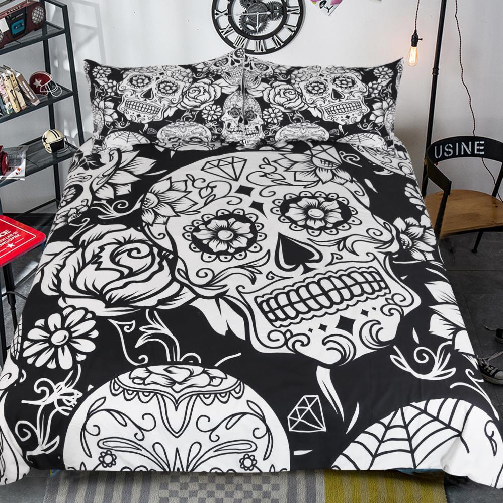 Black White Fashion 3d Skull Sugar Bone Flower Bedding Set Printed