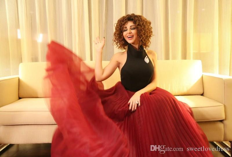 Sexy Backless nero e rosso Halter Prom Dresses Myriam Fares Ruffles eveing Gowns Tulle Runway Fashion Formal Party Dress