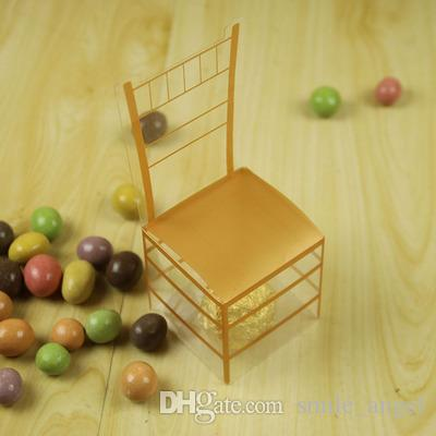2018 New Wedding Favors Baby Shower Candy Boxes PVC Gold color with Chair Shaped Party Gift Boxes