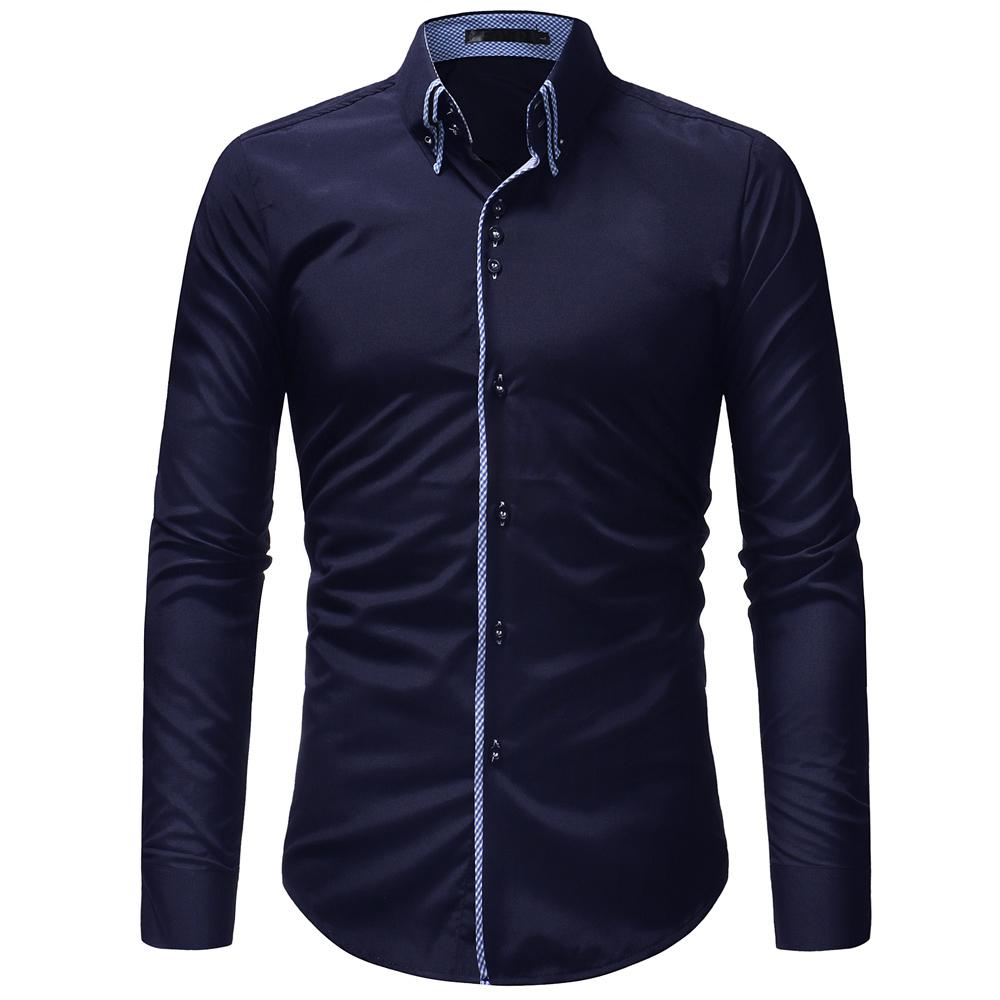 JCCHENFS 2018 Brand Casual Shirt Men Double Collar Design Long Sleeve Slim Shirts Men's Social Shirts Classic Solid Color blouse