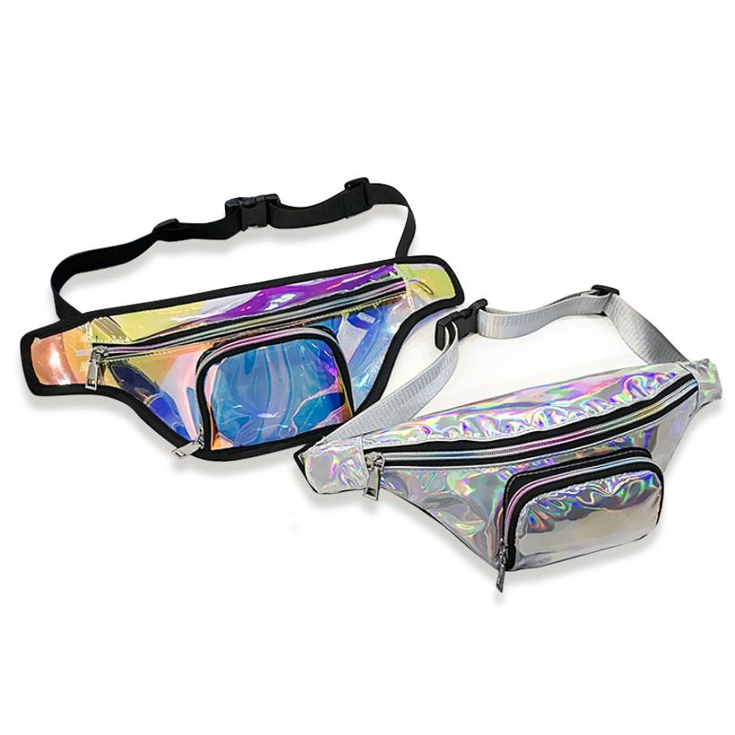 59db5a6666b7 2018 New Punk Lady Girl Rainbow PVC Laser Transparent Fanny Pack Women Bum  Bag Belt bag Silver Black