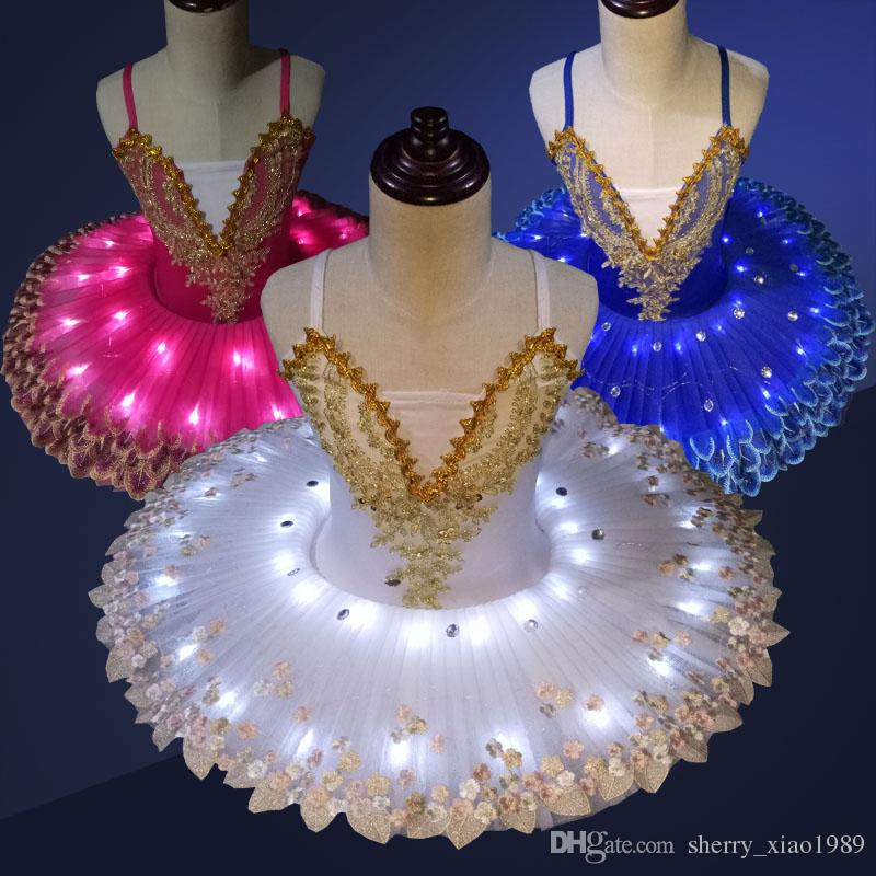 57770241704f White Blue Pink Professional LED Light Ballet Tutu Kids Dress Ballerina  Dress Children Halloween Stage Children Party Dress Costume Outfit Canada  2019 From ...