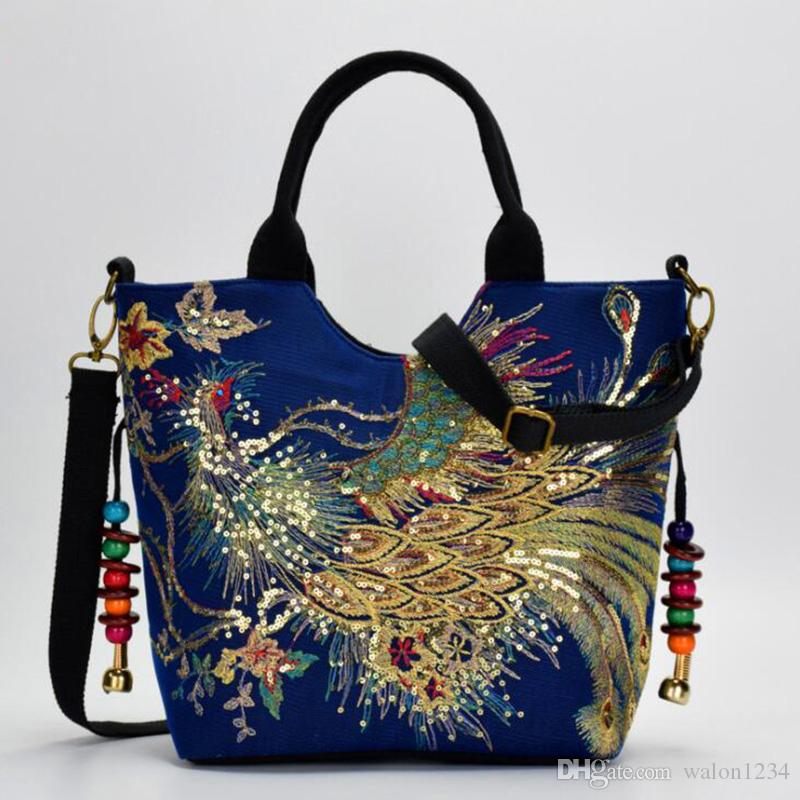 Women Canvas Shoulder Bag Peacock Embroidery Handbag Stylish Tote Bags Casual Cross-body Bag With Decorative Pendants