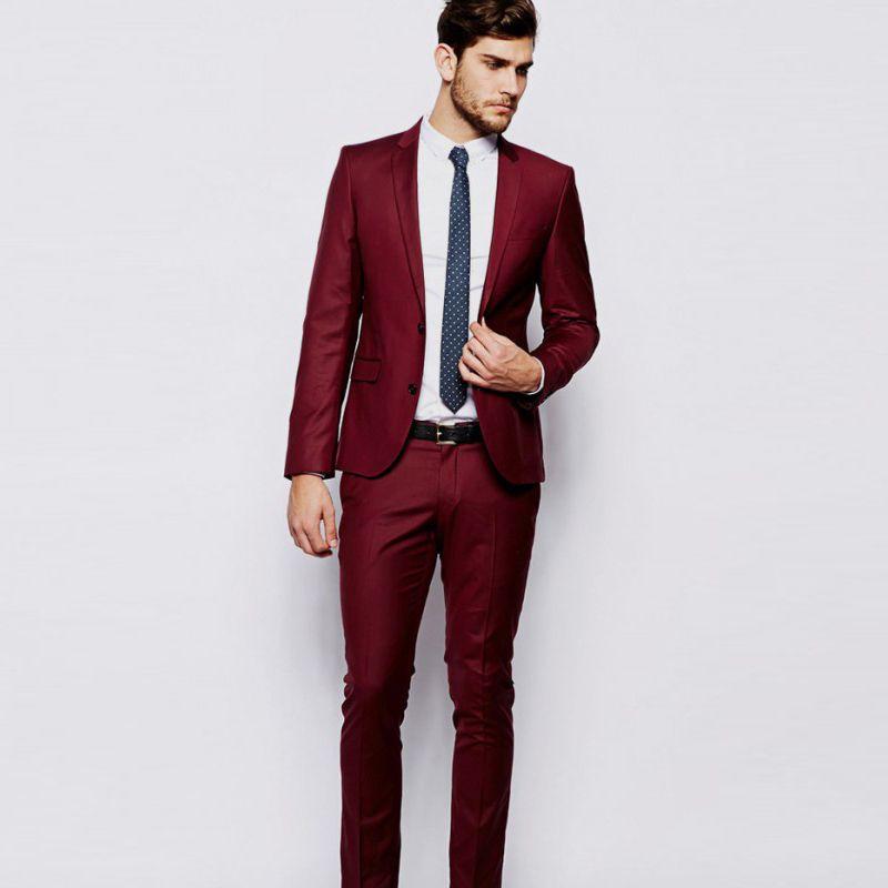 newest 7ec4e a3627 2018 rosso bordeaux uomo abiti eleganti elegante casual giacca sportiva per  uomo d affari prom classico da uomo slim fit smoking 2 pezzi