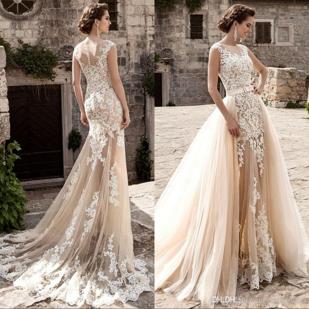 Champagne Lace Wedding Gown: 2018 Champagne Lace Sheer Neck Mermaid Wedding Dresses