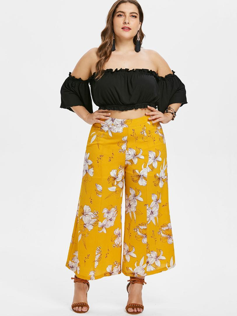 9b98fe6bd5 Gamiss Plus Size Off Shoulder Crop Top And Floral Pants Two Piece Women Set  2018 New Fashion Loose Wide Leg Pants Tank Tops