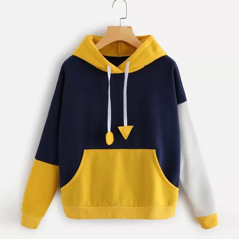 3e9d40390e1 2019 Autumn 2018 Harajuku Sweatshirt Hoodies Women Streetwear Color Block  Pocket Kpop Hoodie Korean Style Woman Clothes Moletom From Berniceone