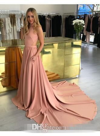 Modest blush Halter Evening Dresses with pocket 2018 A line Cheap Backless Dresses Prom Wear Sweep Train Party Gowns For Girls Custom Made