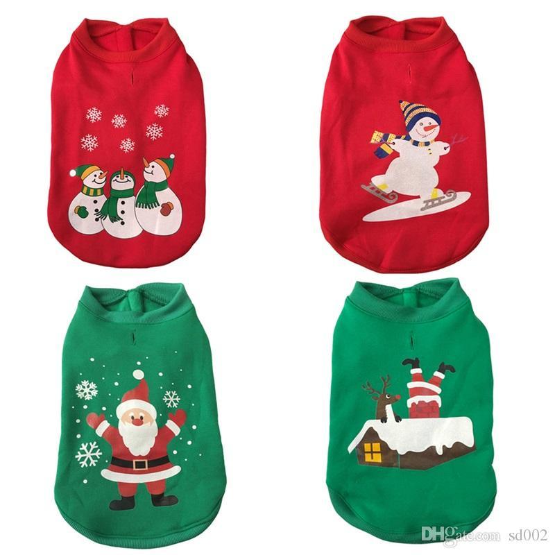 dettagliare 21f93 6cda7 Merry Christmas Dog Apparel Festival Cute Maglione Capispalla Babbo Natale  Abbigliamento Autunno Inverno Giacche Cappotto sciolto Pet Supplies 19hs bb