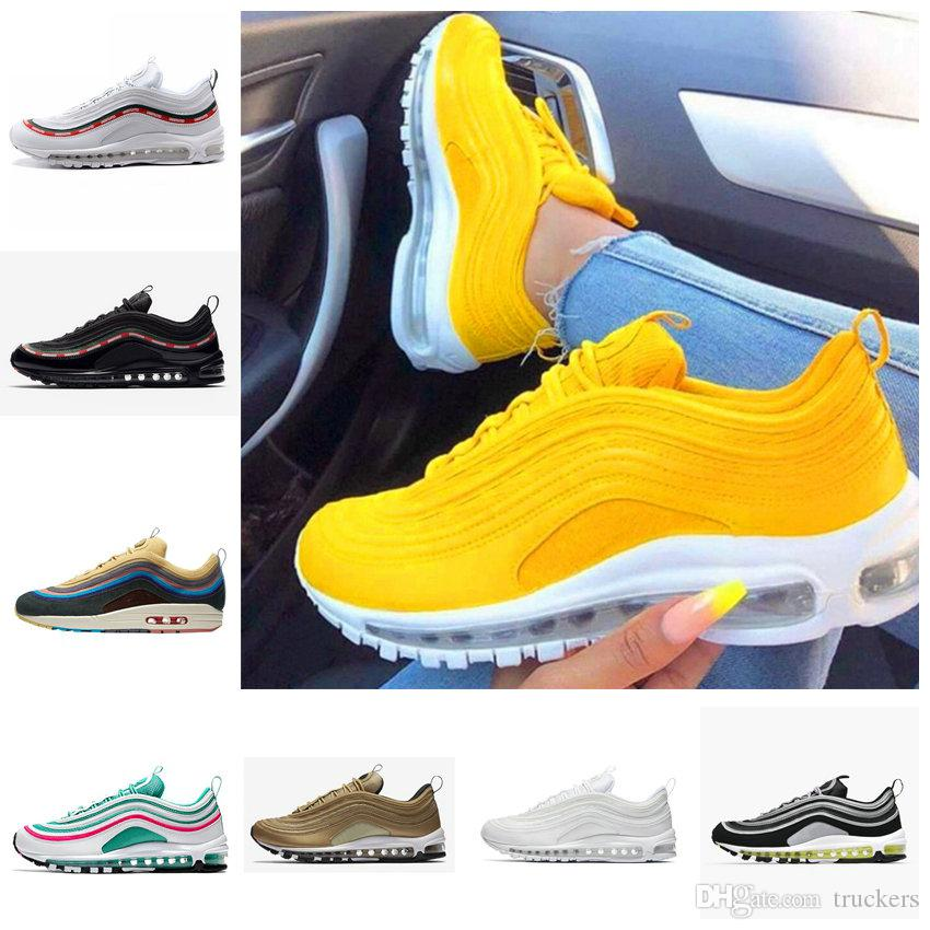 79a18466cf2 2018 Ultra 97 OG Yellow White Running Shoes 97s Sean Wotherspoon Undefeated  Women Maxes Sports Designer Air Mens Womens Trainers Sneakers Womens Trail  ...