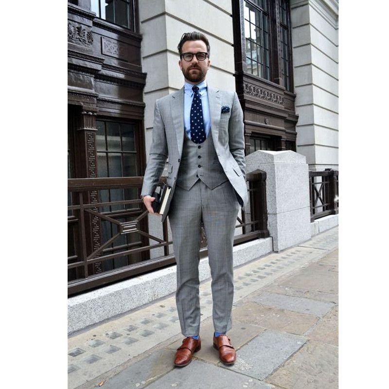2019 Custom Made Light Grey Suit Men Groom Wedding Suits