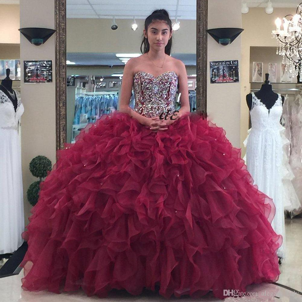 7ca3b168bd Luxury Dark Red Ball Gown Quinceanera Dresses Sweetheart Beaded And Sequin  Cascading Ruffles Organza Prom Gown Puffy Girls Pageant Dress Quince Dresses  ...