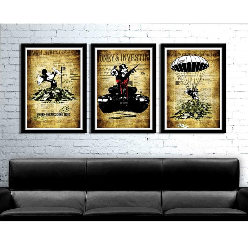 2018 Alec Monopoly Banksy Inspired 2,Canvas Prints Wall Art Oil ...