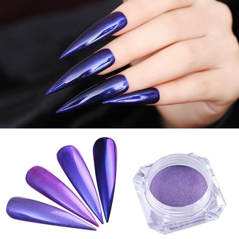 1 Box Purple Mermaid Pearl Nail Pigment Powder Glitters Mirror