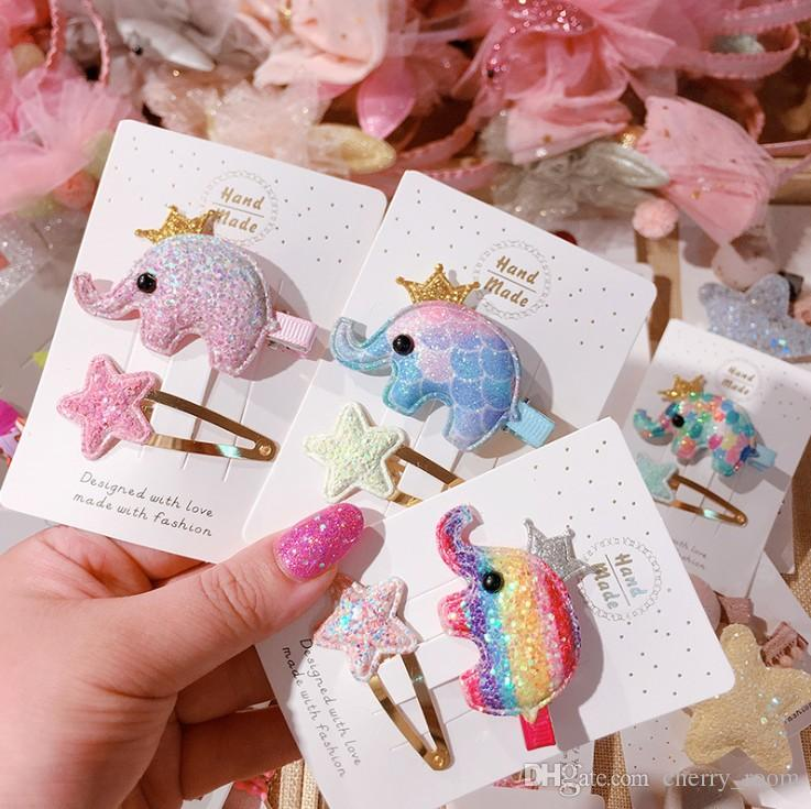 Cartoon Baby Girls Hair Accessories Rainbow Color Crown Elephant Sequin Star Kids BB Barrettes Cute Cartoon Children hair clip C4164