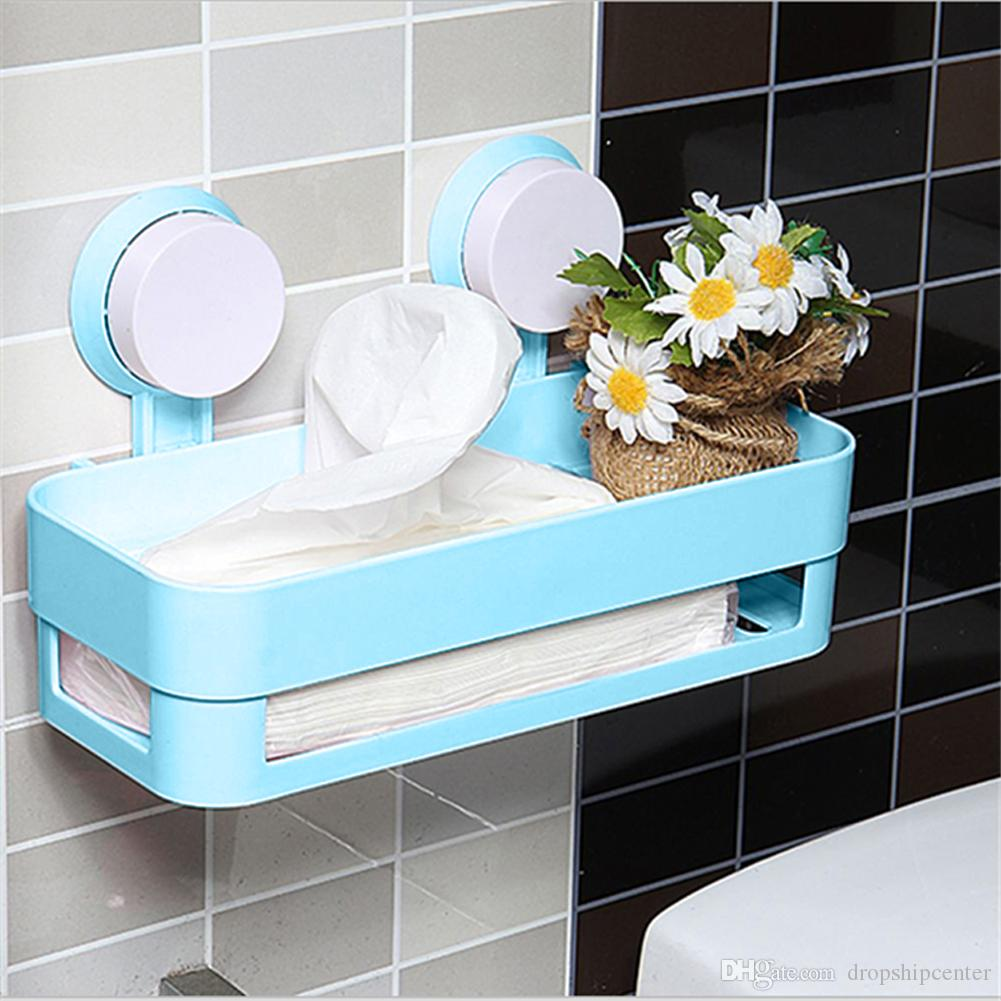 Suction Cup Bathroom Shelf Shampoo Holder Cosmetics Organizer Two ...