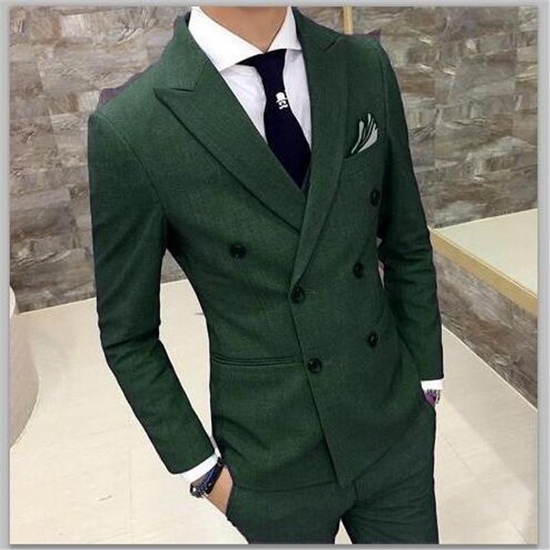 Acquista Vestito Da Uomo Doppio Petto Verde Matrimonio 2 Pezzi Giacca +  Pantaloni + Cravatta Vestito Personalizzato Da Uomo Estate Tuxedo Smoking  Terno 006 ... cc4e15a78499