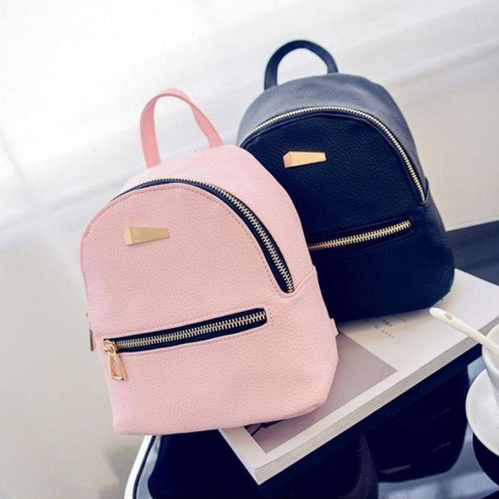 7a60577e138 Fashion PU Leather Backpacks For Adolescent Girls Pink Mini Backpack Female  Small Backpacks Women s Travel Bags Girl School Bag Kids Backpacks Dakine  ...
