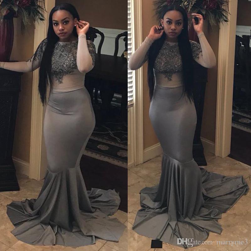 Gray Black Girls Evening Gowns Mermaid Long Sleeve Illusion Bodice