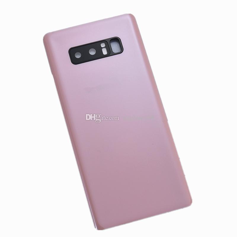 Batterie-Tür-Glasdeckel Gehäuse mit Kameraobjektiv + anhaftenden Aufkleber installierte für Samsung Galaxy Note 8 N950 Ersatzteile