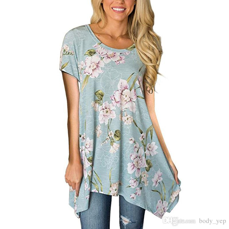 1a06a367283ae2 Floral Print Tops Women T Shirt Fashion Flower Printing Short Sleeves Shirt  Sexy Casual Irregular Summer Ladies Tee Shirts Tops Blouse Tee Buy Shirts T  ...