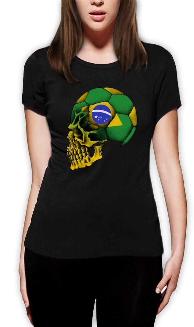 Compre Camiseta Das Mulheres 2018 Novo Tumblr Blusa Camisetas Roupas De T  Camisa Curto Impresso Brasil Bandeira Copa América Crânio Curto Manga  Camisas Das ... 7b16db3d4e29a