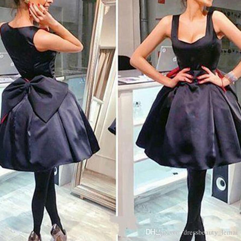 ec984a3bab7 Little Black Short Cocktail Gowns With Spaghetti Straps A Line Big Bow Knee  Length Homecoming Dresses Arabic Prom Dress Ssexy Dresses Stores That Sell  ...