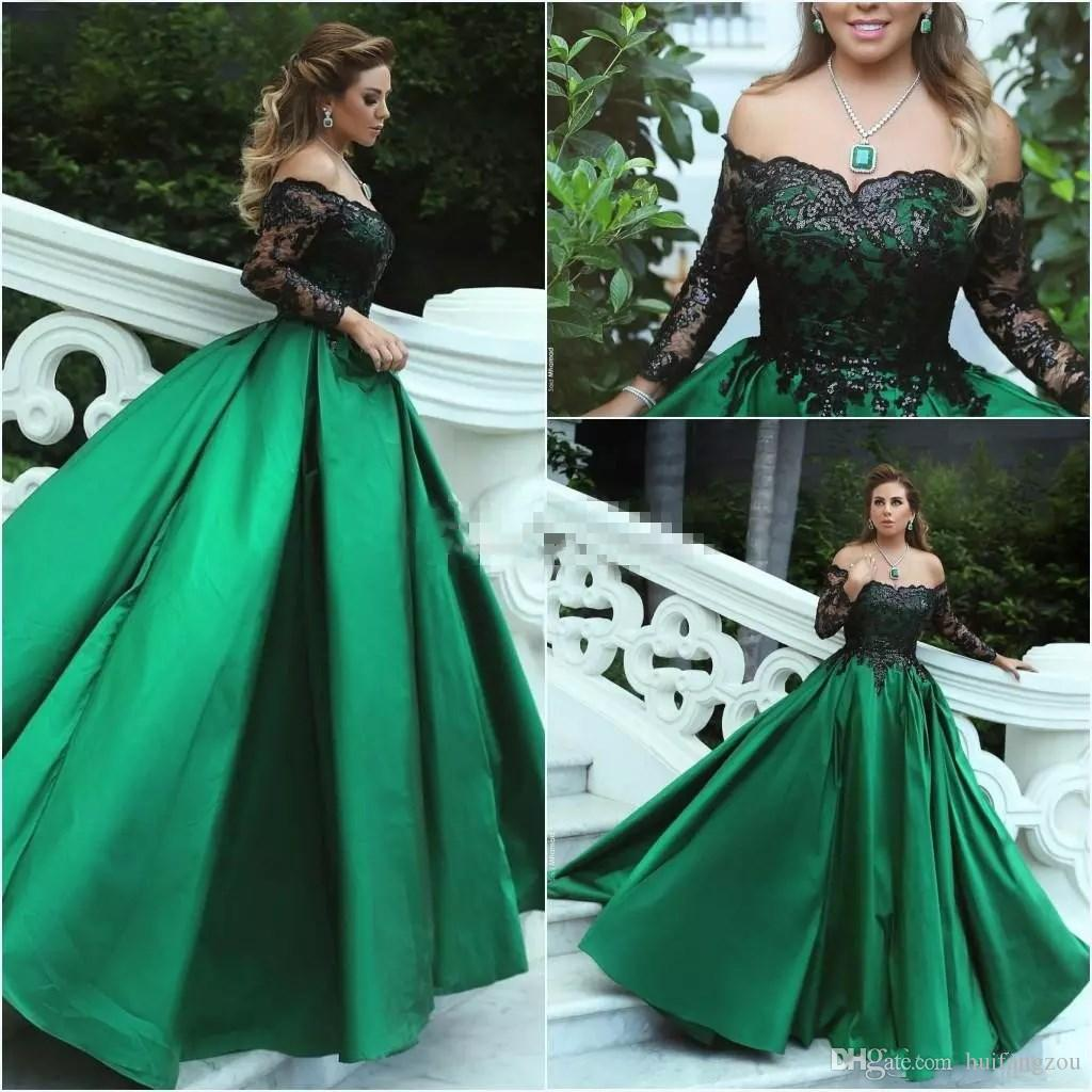 2018 Green Black Ball Gown Prom Dresses Off Shoulder Long Sleeves ...