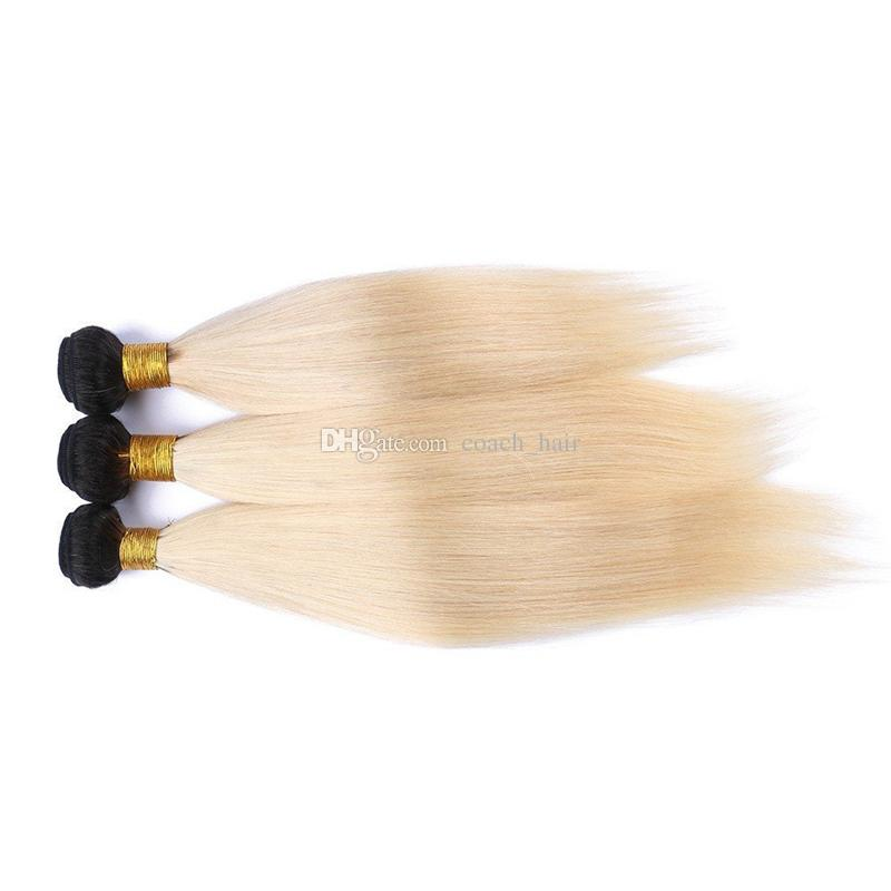 Großhandel Indian Blonde Ombre Frontal Closure Mit Bündeln 1b 613 Platinblond Ombre Glatt Indisches Haar Mit 13x4 Front Mit Spitze Von Coachhair