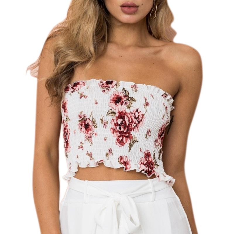 a67bc9ef0edab 2019 Sexy Women Elastic Ruched Camis Floral Print Bra Bustier Crop Top  Bralette Strapless Cropped Blusas Bandeau Tank Tops Camisole From Fangfen