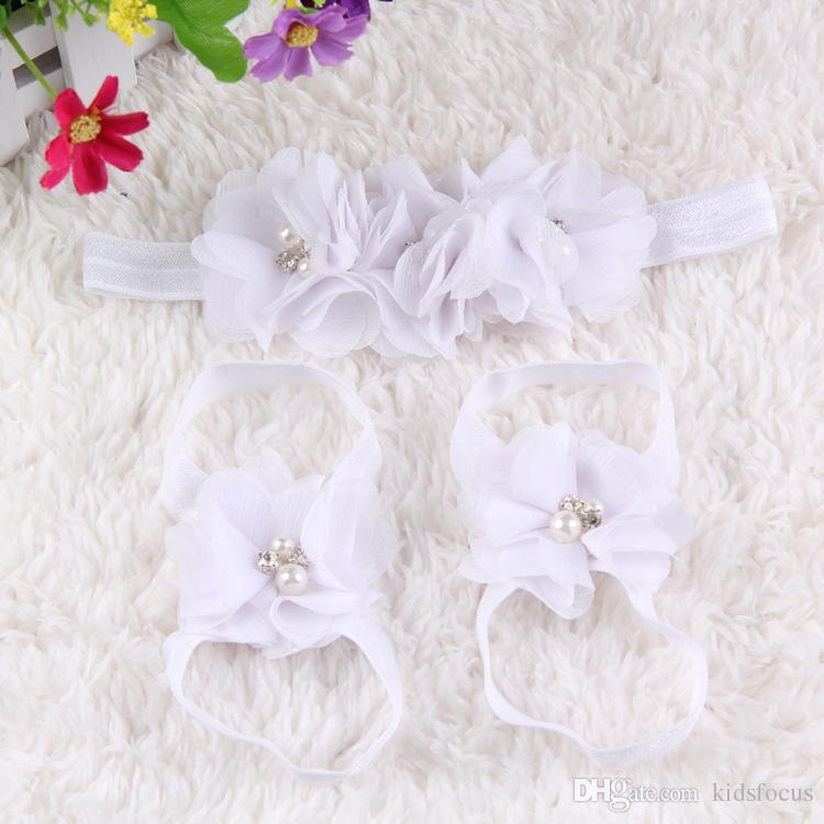 colourful foot flower barefoot sandals+headband set for baby infant girls toddler baby girls flower headbands foot flower hairband