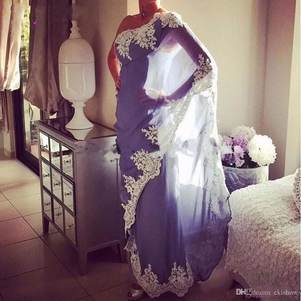 2018 New Sexy Lavender One Shoulder Long Evening Dresses Appliques Chiffon Indian Dubai Women Formal Gowns Prom Dresses Saudi Arabic