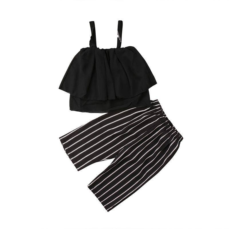 7fcbc4b248f97 Summer Toddler Kids Girl Sleeveless Strap Tank Tops Black+Striped Short  Pant 2PCS Outfits Clothing Set 2-6Y
