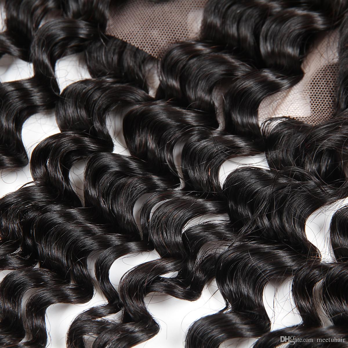 Cheap 8A 360 Lace Frontal Deep Wave Human Hair Pre Plucked for Black Women Brazilian Peruvian Malaysian Indian Hair 8-20inch