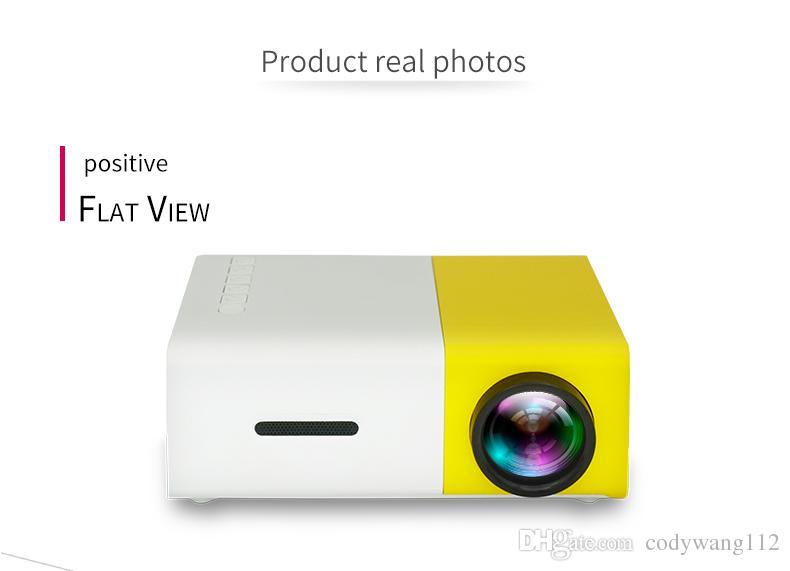 Vente d'usine YG300 Projecteur Portable LED 400-600LM 3.5mm Audio 320 x 240 Pixels YG-300 HDMI USB Mini Projecteur Page d'accueil