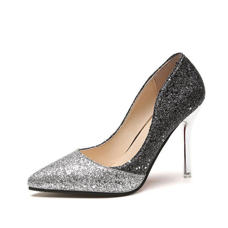 bd591e59d Compre Moda Feminina Bling De Salto Alto Glitter Bombas Sapatos De  Casamento Nupcial Sexy Ponto Dedos Salto Stiletto Salto De Metal De Salto 9  Cm De Alta De ...