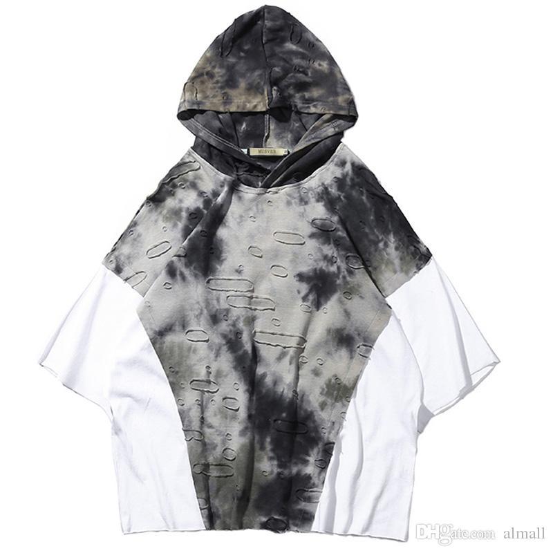 Patchwork con capucha camisetas hombres 2018 verano Hip Hop floja ocasionales de algodón Streetwear proceso especial hombres Tops camisetas camisas