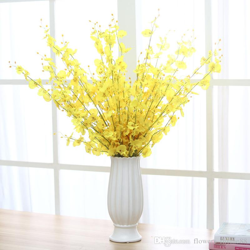 2018 yellow orchid artificial flowers fake dancing lady orchid silk 2018 yellow orchid artificial flowers fake dancing lady orchid silk flower home wedding decoration long stem with petal flower table centerpieces from mightylinksfo