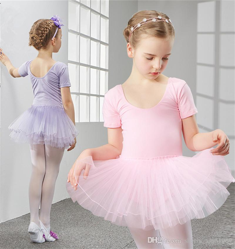 d6c0a56973bc 2019 Children Ballet Leotard Short Sleeve Cotton Dress Gymnastic ...