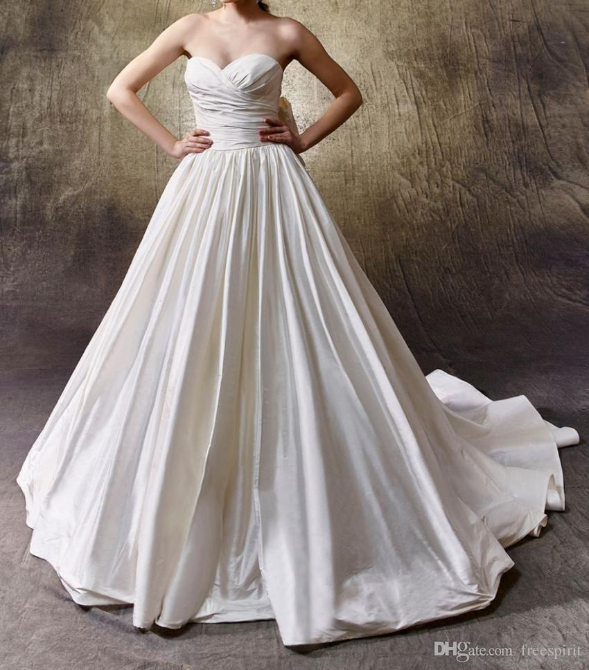 Discount Modern Ruching Taffeta Wedding Dress A Line Strapless Sweetheart Detachable Bow Chapel Train Simple Backless Gown For Bride Vintage Look: Taffeta Lace Wedding Dress Look No At Reisefeber.org