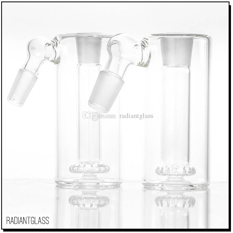 Glass Ash catcher 45 Degree Shower head percolator one inside 14mm or 18mm joint thick clear glass ashcatcher for water pipe