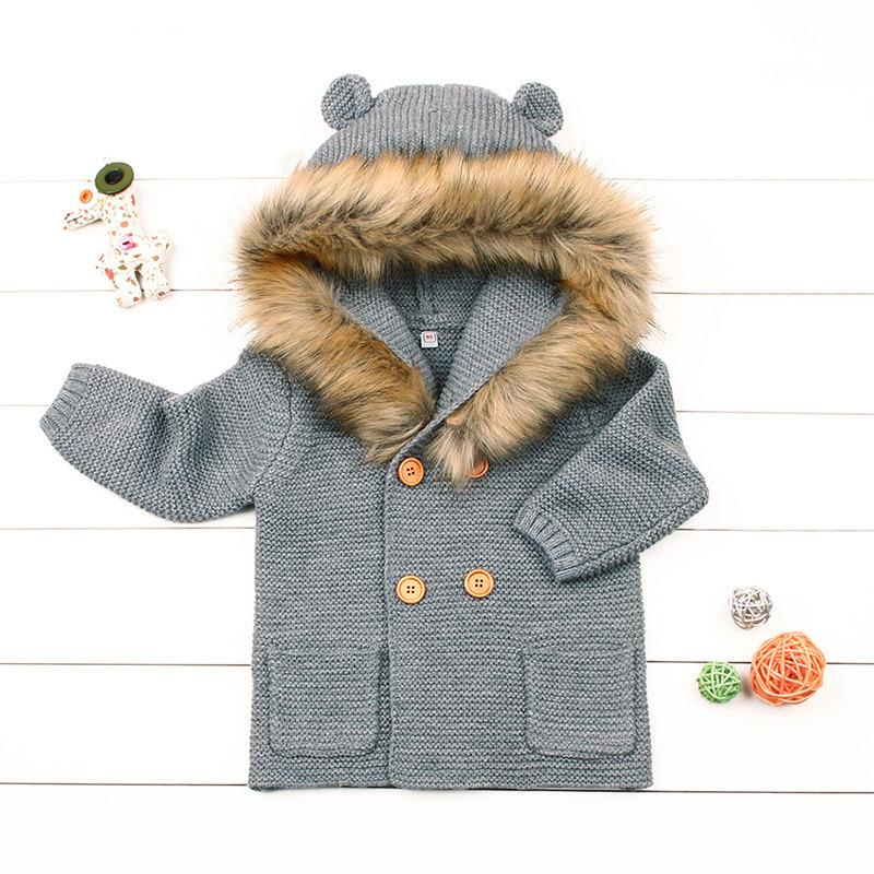84afb85358e6 Cute Baby Knitted Coat Autumn Winter Thick Warm Coat For 0 24month ...