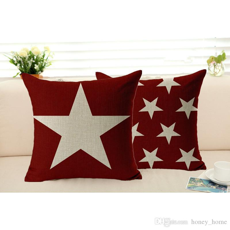 Star Pillowcase Cotton Linen Cushion Cover Sofa Chair Seat Removable New Washable Decorative Pillows